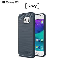 Luxury Carbon Fiber Brushed Wire Drawing Silicone TPU Back Cover for Samsung Galaxy S6 G920 (Navy)