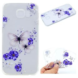 Blue Butterfly Flowers Super Clear Soft TPU Back Cover for Samsung Galaxy S6 G920