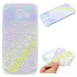 Mandala Rainbow Flower Super Clear Soft TPU Back Cover for Samsung Galaxy S6 G920