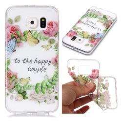 Green Leaf Rose Super Clear Soft TPU Back Cover for Samsung Galaxy S6 G920
