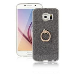 Luxury Soft TPU Glitter Back Ring Cover with 360 Rotate Finger Holder Buckle for Samsung Galaxy S6 G920 - Black