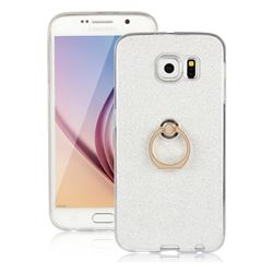 Luxury Soft TPU Glitter Back Ring Cover with 360 Rotate Finger Holder Buckle for Samsung Galaxy S6 G920 - White