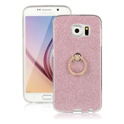 Luxury Soft TPU Glitter Back Ring Cover with 360 Rotate Finger Holder Buckle for Samsung Galaxy S6 G920 - Pink