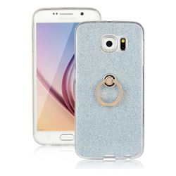Luxury Soft TPU Glitter Back Ring Cover with 360 Rotate Finger Holder Buckle for Samsung Galaxy S6 G920 - Blue