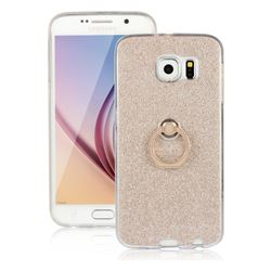 Luxury Soft TPU Glitter Back Ring Cover with 360 Rotate Finger Holder Buckle for Samsung Galaxy S6 G920 - Golden