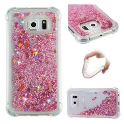 Dynamic Liquid Glitter Sand Quicksand Star TPU Case for Samsung Galaxy S6 G920 - Diamond Rose