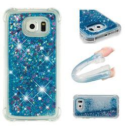 Dynamic Liquid Glitter Sand Quicksand TPU Case for Samsung Galaxy S6 G920 - Blue Love Heart