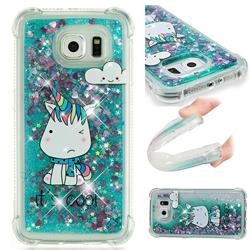 Tiny Unicorn Dynamic Liquid Glitter Sand Quicksand Star TPU Case for Samsung Galaxy S6 G920