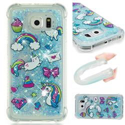 Fashion Unicorn Dynamic Liquid Glitter Sand Quicksand Star TPU Case for Samsung Galaxy S6 G920