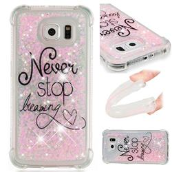 Never Stop Dreaming Dynamic Liquid Glitter Sand Quicksand Star TPU Case for Samsung Galaxy S6 G920