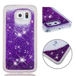 Dynamic Liquid Glitter Quicksand Sequins TPU Phone Case for Samsung Galaxy S6 G920 - Purple