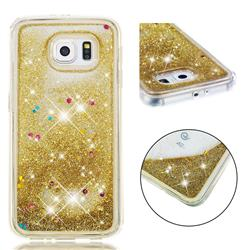 Dynamic Liquid Glitter Quicksand Sequins TPU Phone Case for Samsung Galaxy S6 G920 - Golden