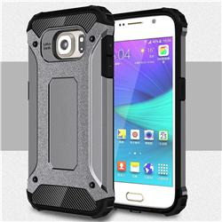 King Kong Armor Premium Shockproof Dual Layer Rugged Hard Cover for Samsung Galaxy S6 G920 - Silver Grey