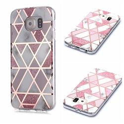 Pink Rhombus Galvanized Rose Gold Marble Phone Back Cover for Samsung Galaxy S6 G920