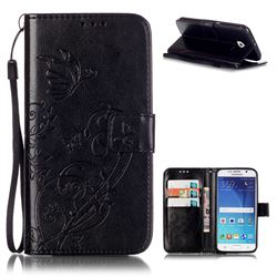 Embossing Butterfly Flower Leather Wallet Case for Samsung Galaxy S6 - Black