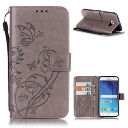 Embossing Butterfly Flower Leather Wallet Case for Samsung Galaxy S6 - Grey