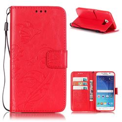 Embossing Butterfly Flower Leather Wallet Case for Samsung Galaxy S6 - Red