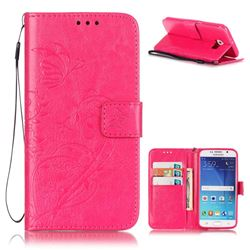 Embossing Butterfly Flower Leather Wallet Case for Samsung Galaxy S6 - Rose