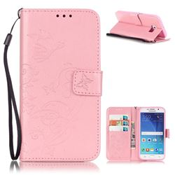 Embossing Butterfly Flower Leather Wallet Case for Samsung Galaxy S6 - Pink