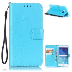 Embossing Butterfly Flower Leather Wallet Case for Samsung Galaxy S6 - Blue