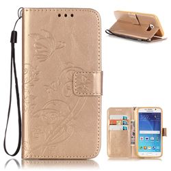 Embossing Butterfly Flower Leather Wallet Case for Samsung Galaxy S6 - Champagne