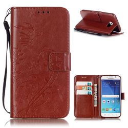 Embossing Butterfly Flower Leather Wallet Case for Samsung Galaxy S6 - Brown