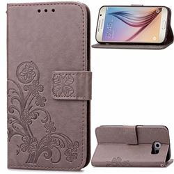 Embossing Imprint Four-Leaf Clover Leather Wallet Case for Samsung Galaxy S6 - Gray