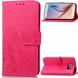 Embossing Imprint Four-Leaf Clover Leather Wallet Case for Samsung Galaxy S6 - Rose
