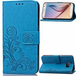 Embossing Imprint Four-Leaf Clover Leather Wallet Case for Samsung Galaxy S6 - Blue