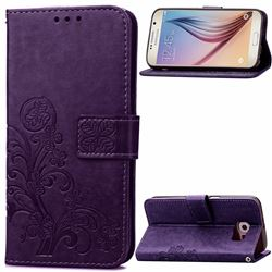 Embossing Imprint Four-Leaf Clover Leather Wallet Case for Samsung Galaxy S6 - Purple