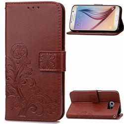 Embossing Imprint Four-Leaf Clover Leather Wallet Case for Samsung Galaxy S6 - Brown