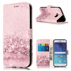 Glittering Rose Gold PU Leather Wallet Case for Samsung Galaxy S6