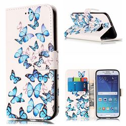 Blue Vivid Butterflies PU Leather Wallet Case for Samsung Galaxy S6