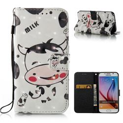 Milk Cow 3D Painted Leather Wallet Case for Samsung Galaxy S6 G920