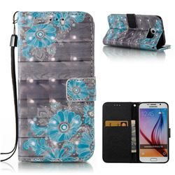 Blue Flower 3D Painted Leather Wallet Case for Samsung Galaxy S6 G920