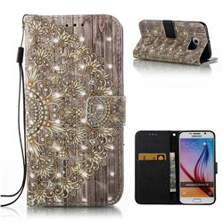 Golden Flower 3D Painted Leather Wallet Case for Samsung Galaxy S6 G920