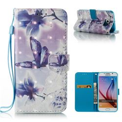 Butterfly Flower 3D Painted Leather Wallet Case for Samsung Galaxy S6 G920
