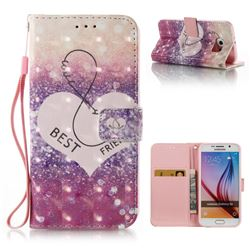Heart Friend 3D Painted Leather Wallet Case for Samsung Galaxy S6 G920