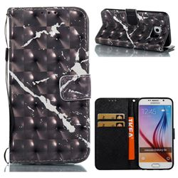 Black Marble 3D Painted Leather Wallet Case for Samsung Galaxy S6 G920