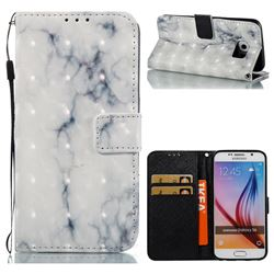 White Gray Marble 3D Painted Leather Wallet Case for Samsung Galaxy S6 G920