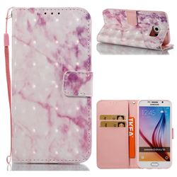 Pink Marble 3D Painted Leather Wallet Case for Samsung Galaxy S6 G920