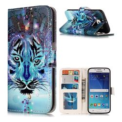 Ice Wolf 3D Relief Oil PU Leather Wallet Case for Samsung Galaxy S6 G920