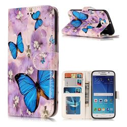 Purple Flowers Butterfly 3D Relief Oil PU Leather Wallet Case for Samsung Galaxy S6 G920