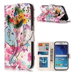 Flower Elephant 3D Relief Oil PU Leather Wallet Case for Samsung Galaxy S6 G920