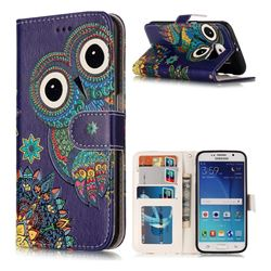 Folk Owl 3D Relief Oil PU Leather Wallet Case for Samsung Galaxy S6 G920