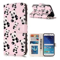 Cute Panda 3D Relief Oil PU Leather Wallet Case for Samsung Galaxy S6 G920