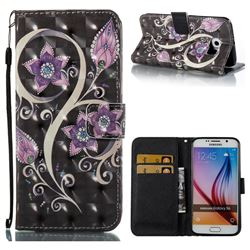 Peacock Flower 3D Painted Leather Wallet Case for Samsung Galaxy S6 G920