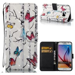 Colored Butterflies 3D Painted Leather Wallet Case for Samsung Galaxy S6 G920