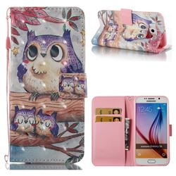 Purple Owl 3D Painted Leather Wallet Case for Samsung Galaxy S6 G920