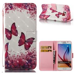 Rose Butterfly 3D Painted Leather Wallet Case for Samsung Galaxy S6 G920